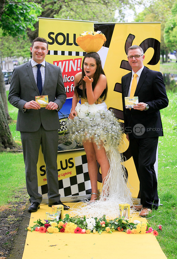 ***NO FEE PIC ***<br /> 23/05/2016 <br /> (L to R) Chris Furey Director of Smith Furey Group, Ciara Flaherty (16) &amp; David Reynolds Sales and Marketing Director, Solus launch the search for Solus Brightest at Bloom from the yellow carpet at Mespil Road, Dublin.<br />  On Sunday June 5th at 2pm at the Solus Garden at Bloom in the Phoenix Park, the Brightest at Bloom will be chosen on the yellow carpet from ten finalists.  Solus Brightest at Bloom is a nod to ladies day but all-inclusive, open to ladies, gentlemen, children and all sunny dispositions young &hellip; and not so young!  It is not just about fashion but more about luminosity, brightness and light.  See details on Solus Facebook Page to enter.<br /> Photo: Gareth Chaney Collins