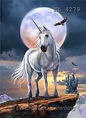 Interlitho, Lorenzo, REALISTIC ANIMALS, paintings, unicorn, moon, eagle(KL4279,#A#) realistische Tiere, realista, illustrations, pinturas ,puzzles