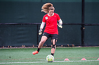Allston, MA - Saturday, May 07, 2016: Chicago Red Stars goalkeeper Alyssa Naeher (1) during warmups before a regular season National Women's Soccer League (NWSL) match at Jordan Field.