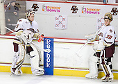 Parker Milner (BC - 35), Chris Venti (BC - 30) - The Boston College Eagles defeated the University of Massachusetts-Amherst Minutemen 2-1 (OT) on Friday, February 26, 2010, at Conte Forum in Chestnut Hill, Massachusetts.