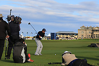 Luis Figo (AM) playing with Matthew Fitzpatrick (ENG) on the 18th tee during Round 3 of the Alfred Dunhill Links Championship 2019 at St. Andrews Golf CLub, Fife, Scotland. 28/09/2019.<br /> Picture Thos Caffrey / Golffile.ie<br /> <br /> All photo usage must carry mandatory copyright credit (© Golffile | Thos Caffrey)