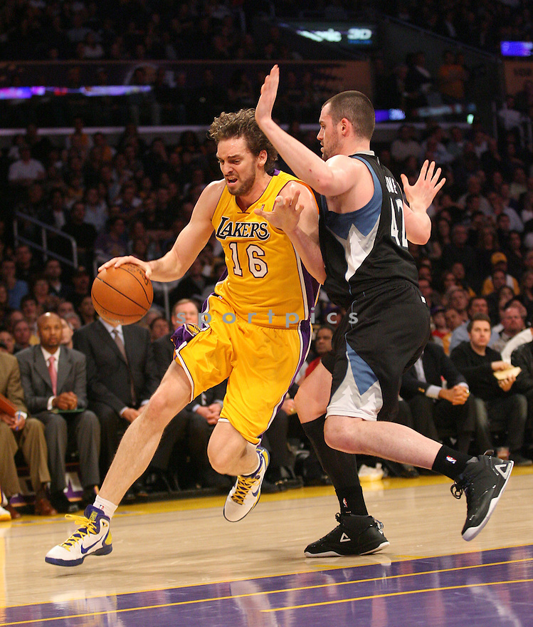PAU GASOL, of the Los Angeles Lakers, in actions during the Lakers game against the Minnesota Timberwolves at Staples Center on March 18, 2011.  The LA Lakers won the game beating the Minnesota Timberwolves 106-98.
