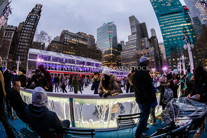 New York City, USA 28 December 2016 - Ice Skating in Bryant Park