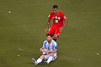 Action photo during the match Argentina vs Chile corresponding to the Final of America Cup Centenary 2016, at MetLife Stadium.<br /> <br /> Foto durante al partido Argentina vs Chile cprresponidente a la Final de la Copa America Centenario USA 2016 en el Estadio MetLife , en la foto:(i-d)Lionel Messi de Argentina y Gonzalo Jara de Chile<br /> <br /> <br /> 26/06/2016/MEXSPORT/JAVIER RAMIREZ