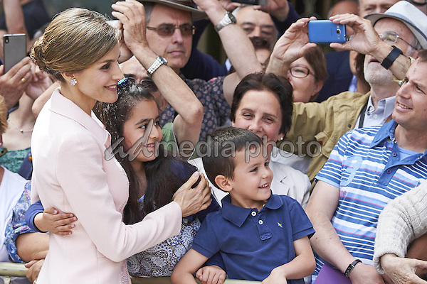 13 June 2016 - Spain Queen Letizia during the ceremony of the Spanish National flag to the special engineers regiment at Plaza Mayor in Salamanca. Photo Credit: PPE/face to face/AdMedia