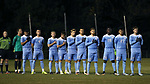 CARY, NC - NOVEMBER 19: UNC starters during the playing of the national anthem. The University of North Carolina Tar Heels hosted the UNCW Seahawks on November 19, 2017 at Koka Booth Stadium in Cary, NC in an NCAA Division I Men's Soccer Tournament Second Round game. UNC won the game 2-1.