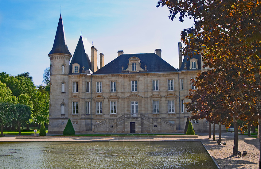 The Chateau Pichon Longueville Baron and pond Pauillac Medoc Bordeaux Gironde Aquitaine France