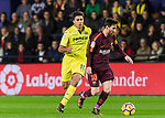 Lionel Andres Messi (R) of FC Barcelona competes for the ball with Rodrigo Hernandez Cascante, Rodri, of Villarreal CF during the La Liga 2017-18 match between Villarreal CF and FC Barcelona at Estadio de la Ceramica on 10 December 2017 in Villarreal, Spain. Photo by Maria Jose Segovia Carmona / Power Sport Images