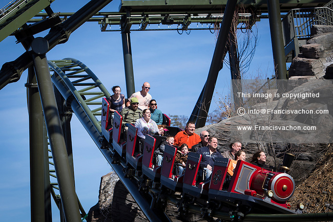 The FireChaser Express roller coaster is pictured in Dollywood theme park in Pigeon Forge, Tennessee Friday March 21, 2014. Located in the Knoxville-Smoky Mountains metroplex, Dollywood is a theme park owned by entertainer Dolly Parton and Herschend Family Entertainment.