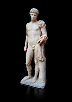 Roman marble statue of Hermes found at Aigion, Pelopenese. 27 BC - 14 AD. Athens Archaeological Museum Cat No 241. Against black<br /> <br /> Hermes is depicted standing wearing a chalamys that is wound around his lest arm. In his right hand he holds a purse and in his left a 'caduceus'. Augustan Roman period