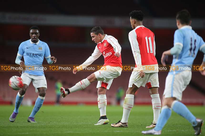 Ismael Bennacer of Arsenal takes a shot at the Manchester City goal during Arsenal Youth vs Manchester City Youth, FA Youth Cup Football at the Emirates Stadium on 4th April 2016