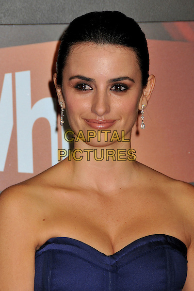 PENELOPE CRUZ.14th Annual Critics Choice Awards at the Santa Monica Civic Auditorium, Santa Monica, California, USA..January 8th, 2009.headshot portrait dangling earrings cleavage purple blue strapless.CAP/ADM/BP.©Byron Purvis/AdMedia/Capital Pictures.