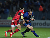 29th September 2017, RDS Arena, Dublin, Ireland; Guinness Pro14 Rugby, Leinster Rugby versus Edinburgh; Dougie Fife (Edinburgh) tackles Rhys Ruddock (Leinster)