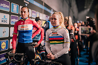 eventual race winner / Dutch national champion Chantal Blaak (NED/Boels - Dolmans) & World Champion Anna van der Breggen (NED/Boels - Dolmans) awaiting their team presentation in the legendary 'Kuipke' velodrome in Ghent<br /> <br /> Omloop Het Nieuwsblad 2019 <br /> Gent to Ninove (BEL): 123km<br /> <br /> ©kramon