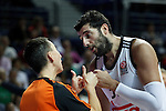 Basketball Real Madrid´s Bourousis (R) argues with the referee during Euroleague basketball match in Madrid, Spain. October 17, 2014. (ALTERPHOTOS/Victor Blanco)