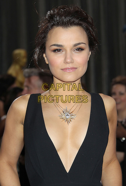Samantha Barks.85th Annual Academy Awards held at the Dolby Theatre at Hollywood & Highland Center, Hollywood, California, USA..February 24th, 2013.oscars half length black sleeveless dress plunging neckline cleavage silver necklace headshot portrait.CAP/ADM/RE.©Russ Elliot/AdMedia/Capital Pictures.