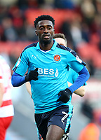 Jordy Hiwula of Fleetwood Town during the Sky Bet League 1 match between Doncaster Rovers and Fleetwood Town at the Keepmoat Stadium, Doncaster, England on 17 February 2018. Photo by Leila Coker / PRiME Media Images.