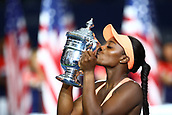 9th September 2017, FLushing Meadows, New York, USA;  SLOANE STEPHENS (USA) kisses the winners trophy after winning her women's final match of the 2017 US Open tennis tournament  at Billie Jean King National Tennis Center in Flushing Meadow, NY.