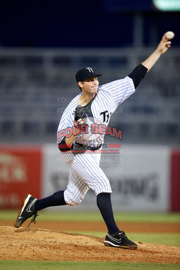 Tampa Yankees Nik Turley #45 during a Florida State League game against the Jupiter Hammerheads at Legends Field on July 17, 2012 in Tampa, Florida.  Tampa defeated Jupiter 12-0.  (Mike Janes/Four Seam Images)