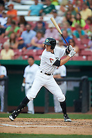 Kane County Cougars outfielder Colin Bray (8) at bat during a game against the Great Lakes Loons on August 13, 2015 at Fifth Third Bank Ballpark in Geneva, Illinois.  Great Lakes defeated Kane County 7-3.  (Mike Janes/Four Seam Images)