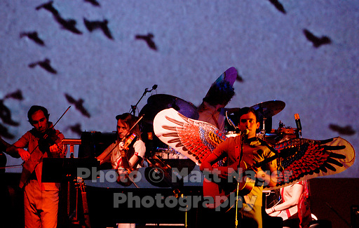 Singer/songwriter Sufjan Stevens (cq), front, performs along with Olivier Manchon (cq), left, Tracy (cq), NO LAST NAME, and James McNister(cq), drummer, during a sold out show at the Lakewood Theater in Dallas, Texas, Wednesday, September, 13, 2006. Originally from Detroit, Stevens has undertaken the large goal of writing an album surrounding themes from all 50 states. He has so far completed two, Illinoise and Michigan.