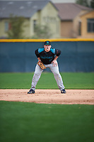 Benjamin Huber (16) of Pendleton High School in Pendleton, South Carolina during the Under Armour All-American Pre-Season Tournament presented by Baseball Factory on January 14, 2017 at Sloan Park in Mesa, Arizona.  (Mike Janes/MJP/Four Seam Images)