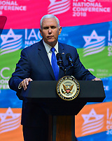 HOLLYWOOD, FL - NOVEMBER 30: U.S.A. Vice President&rsquo;s Mike Pence attends and speak at the 5th Israeli-American Council National Conference at the Westin Diplomat resort Hollywood on November 30, 2018 in Hollywood, Florida. <br /> CAP/MPI10<br /> &copy;MPI10/Capital Pictures
