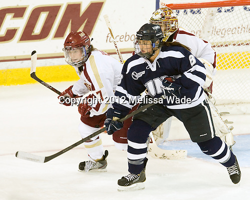 Dru Burns (BC - 7), Arielle O'Neill (UNH - 8) - The Boston College Eagles defeated the visiting University of New Hampshire Wildcats 5-2 on Sunday, October 21, 2012, at Kelley Rink in Conte Forum in Chestnut Hill, Massachusetts.