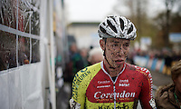 Laurens Sweeck (BEL/Corendon-Kwadro) on his way to the podium immediately after the U23 race finished<br /> <br /> Superprestige Gavere 2014