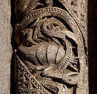 Stone carving of a crab representing Cancer, the sign of the zodiac, from a column on the central bay of the Royal Portal, 1142-50, Western facade, Chartres cathedral, Eure-et-Loir, France. Chartres cathedral was built 1194-1250 and is a fine example of Gothic architecture. It was declared a UNESCO World Heritage Site in 1979. Picture by Manuel Cohen