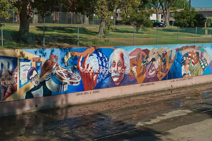 Albert Einstein, Great Wall Mural, Jewish Arts, and, Science, Valley Glen, Los Angeles, CA, San Fernando, Valley, Tujunga Wash, sub watershed, California