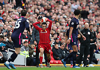 7th March 2020; Anfield, Liverpool, Merseyside, England; English Premier League Football, Liverpool versus AFC Bournemouth; Trent Alexander-Arnold of Liverpool launches a throw in as manager Jurgen Klopp looks on