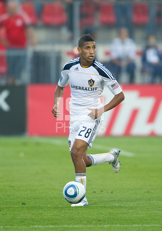26 June 2010:  Los Angeles Galaxy defender Sean Franklin #28 in action during a game between the Los Angeles Galaxy and the Toronto FC at BMO Field in Toronto..Final score was 0-0...