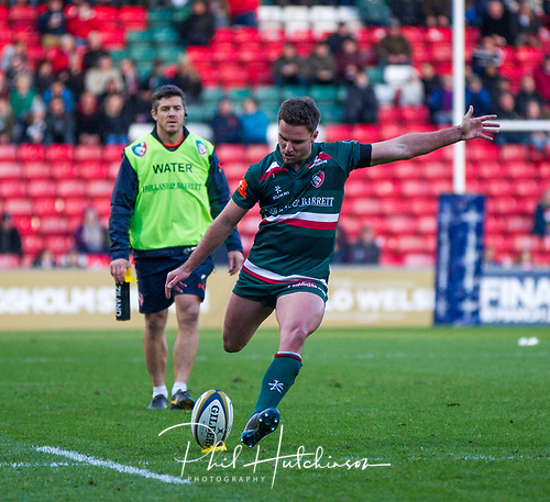 4th November 2017, Welford Road, Leicester, England; Anglo-Welsh Cup, Leicester Tigers versus Gloucester;  Joe Ford (c) kicks the first penalty for Leicester Tigers