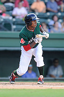 Outfielder Felix Sanchez (3) of the Greenville Drive bats in a game against the Lexington Legends on Sunday, July 21, 2013, at Fluor Field at the West End in Greenville, South Carolina. Lexington won, 2-0. (Tom Priddy/Four Seam Images)