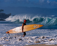 Big Wave Surfer, Waimea Bay Beach Park, Oahu, Hawaii, USA.