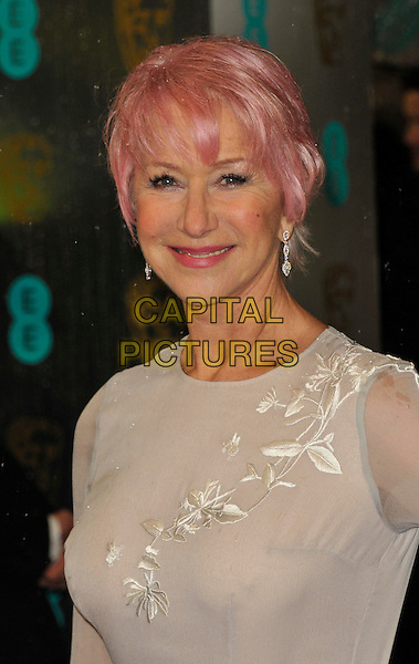 Dame Helen Mirren.EE British Academy Film Awards at The Royal Opera House, London, England 10th February 2013.BAFTA BAFTAS arrivals headshot portrait white pink dyed hair dangling earrings .CAP/WIZ.© Wizard/Capital Pictures