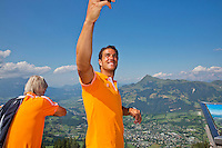 "Austria, Kitzbuhel, Juli 15, 2015, Tennis, Davis Cup, Dutch team on top of the ""Hahnenkam""  Jesse Huta Galung makes a selfie<br /> Photo: Tennisimages/Henk Koster"