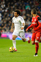Real Madrid´s Marcelo Vieira during 2014-15 La Liga match between Real Madrid and Sevilla at Santiago Bernabeu stadium in Alcorcon, Madrid, Spain. February 04, 2015. (ALTERPHOTOS/Luis Fernandez) /NORTEphoto.com
