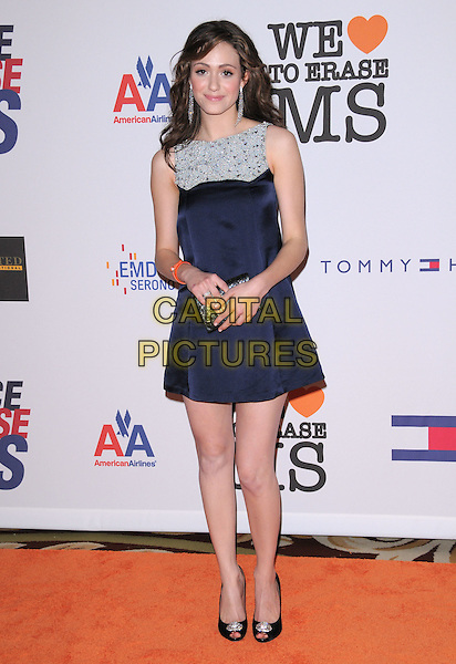 EMMY ROSSUM .Attending The 15th Annual Race to Erase MS Fundraiser held at The The Hyatt Regency Century Plaza Hotel in Century City, California, USA,.May 02 2008..full length blue dress navy shoes clutch bag purse  black  silver beaded      .CAP/DVS.©Debbie VanStory/Capital Pictures