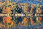 Fishermen on  Rose Valley Lake in fall