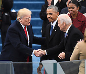 President-elect Donald J. Trump shakes hands with Vice President Joe Biden as he arrives for his inauguration on January 20, 2017 in Washington, D.C.  Trump becomes the 45th President of the United States.      Photo by Pat Benic/UPI    <br /> Credit: Pat Benic / Pool via CNP
