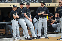 Parker Dunshee (36), Chris Farish (32), and Connor Johnstone (3) prior to the game against the West Virginia Mountaineers in Game Six of the Winston-Salem Regional in the 2017 College World Series at David F. Couch Ballpark on June 4, 2017 in Winston-Salem, North Carolina.  The Demon Deacons defeated the Mountaineers 12-8.  (Brian Westerholt/Four Seam Images)