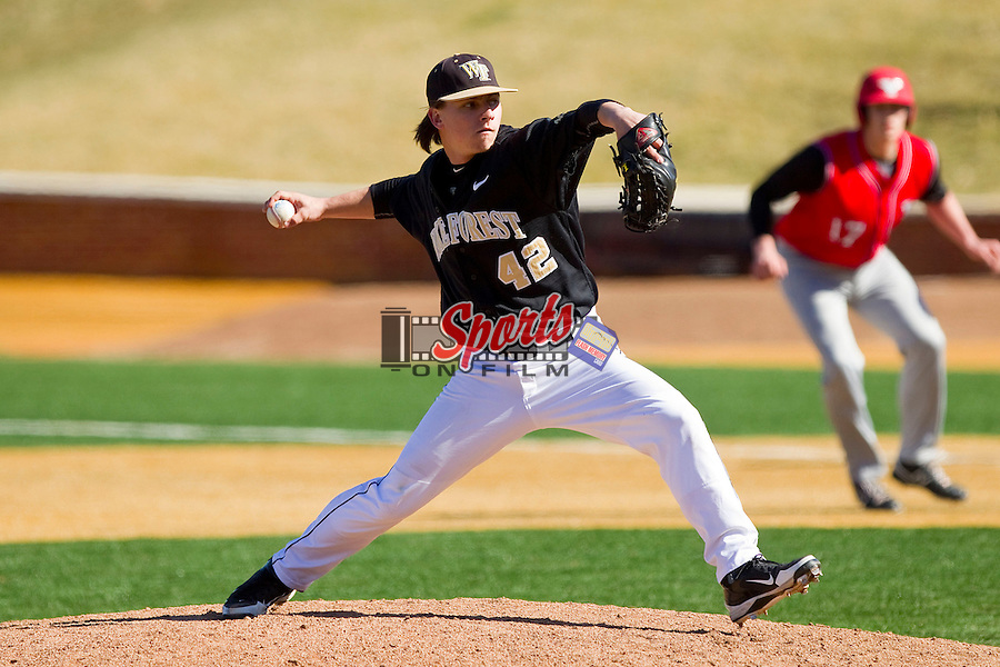 Wake Forest Demon Deacons relief pitcher Nate Jones (42) in action against the Youngstown State Penguins at Wake Forest Baseball Park on February 24, 2013 in Winston-Salem, North Carolina.  The Demon Deacons defeated the Penguins 6-5.  (Brian Westerholt/Sports On Film)