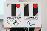 General view, AUGUST 5, 2015 : Designer, Kenjiro Sano held a press conference to explain the concepts behind his design for the official emblem for the 2020 Tokyo Olympic and Paralympic Games in Tokyo, Japan. Sano dismissed claims that the design is copied from the logo for the Theatre de Liege in Belgium and explained that he had created it to follow on from the tradition of the 1964 Olympic Games which were also held in Tokyo. (Photo by Sho Tamura/AFLO SPORT)
