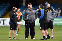 Bath Rugby first team coaches Darren Edwards and Toby Booth have a chat with Wasps Director of Rugby Dai Young prior to the match. Heineken Champions Cup match, between Bath Rugby and Wasps on January 12, 2019 at the Recreation Ground in Bath, England. Photo by: Patrick Khachfe / Onside Images