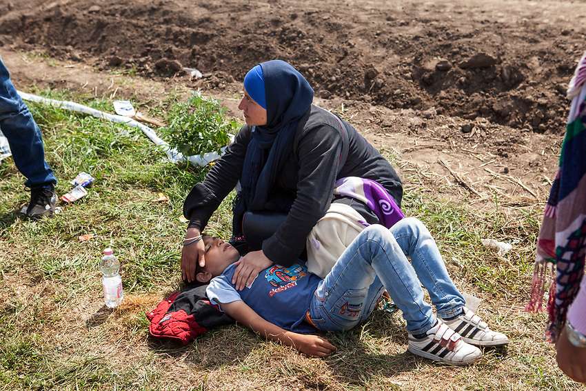 A mother comforts her young son after he passed out in the heat while scrambling to get on a bus that would take his family to a detention centre. Refugees at Roszke Crossing on Serbian-Hungarian Border.