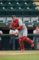 Palm Beach Cardinals catcher Julio Rodriguez (34) looks to throw to first base during a Florida State League game against the Bradenton Marauders on May 10, 2019 at LECOM Park in Bradenton, Florida.  Bradenton defeated Palm Beach 5-1.  (Mike Janes/Four Seam Images)