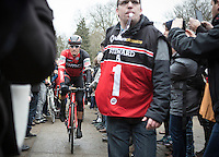 Greg Van Avermaet on his way to the team presentation before the start<br /> <br /> 72nd Omloop Het Nieuwsblad 2017