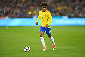June 9th 2017, Melbourne Cricket Ground, Melbourne, Australia; International Football Friendly; Brazil versus Argentina; Willian Silva of Brazil takes control of the ball